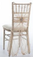 sandalye dekorasyonları için tüller toptan satış-Özel Yapılmış 2016 Kadınsı Tül Sandalye Ucuz Kristaller Sandalye Sashes Romantik Düğün Süslemeleri Düğün Malzemeleri Kapakları 55