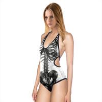 Wholesale Ma Body - skeleton swimsuit funny sexy swimsuit slim body organ printing cross MAS-M swimwear body muscle sling beach Halter Swimsuit girl