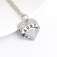 Wholesale mom diamond - father's day Silver Crystal Rhinestone Mom Sister Daughter Nana Hope Heart Word Necklace For Women Family Member jewelry zj-0903553