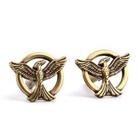 Wholesale vintage bird jewelry - Movie Jewelry The Hunger Games Antique Bronze Vintage Bird Mockingjay Cuff Links Brand Cuff Buttons Top High Quality Cufflinks For Men