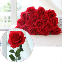 Wholesale Cheap Decoration For Home - Water drop Rose Silk Craft Flowers real look Flowers For Wedding home Decoration 8 Color Cheap Sale HR019
