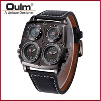 Wholesale Oulm Compass - Brand Oulm Watch Quartz Sports Men Leather Strap Watches Fashion Male Military Wristwatch Running Cool Relojioes Clock Masculino