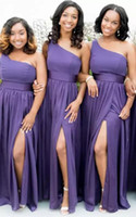 Wholesale Nude Chiffon One Shoulder Dress - New One Shoulder African Evening Dresses Floor Length Side Slit Cheap 2017 Modest Chiffon Bridesmaid Prom Gowns
