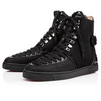 Wholesale Pu Party Boots - Luxury Party Men Women Red Bottom Sneakers Lace Up High Top Sneaker Boots,Design Flats Casual Walking Shoes 35-46