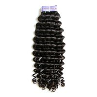 Wholesale Remi Indian Wavy Hair - 8~32inch Malaysian Virgin Hair Human Hair Weft Remi Hair Extensions Deep Wave Wavy Natural Color 100g pc Curly Hair DHL Free Shipping