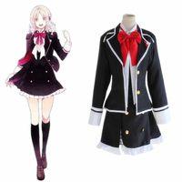 Wholesale School Uniform Dresses Bows - Wholesale-Anime Diabolik Lovers Komori Yui Cosplay Costume School Uniforms Halloween Party Dress((Blazer & Vest & Skirt & Bow)