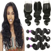 Wholesale Cheap 1pcs Hair Extension - Mink 4 Bundles Mongolian Hair Body Wave With 4*4 Closure 8A Unprocessed Cheap Human Hair Extensions With 1pcs Lace Closures