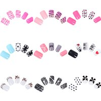 diseños de uv gel nail art al por mayor-24 unids / set Pre-designed Square Full Cover uñas postizas French Acrylic UV Gel Finger Salon Manicura DIY Nail Art Tips envío gratis