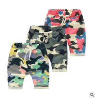 Wholesale Pants Korean - 2016 Summer boys clothing Camo Kids Shorts Fashion Korean New Children Mini Pants Camo Boy Hot Pants 6333