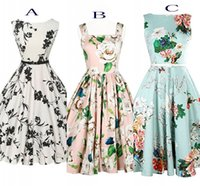 Wholesale Casual Mid Length Beach Dresses - 2016 New Cheap Vintage Dresses Slash Neck A Line Mid-Calf Sleeveless Casual Dresses Free Shipping Summer Beach Flora Printed Women Wear