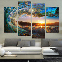 Hot Sale Wall Art Decor Peintures sans cadre The Great Waves Sunset Design Pattern Peintures à l'aérosol Art Printings 4 Panels