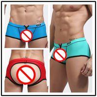 Wholesale Leopard Print Underwear For Men - 2016 New Fashion Boxer Shorts Sexy Lingerie For Men Jacquard Nylon Mesh Back Empty Underwear Erotica U Convex Men's Pants