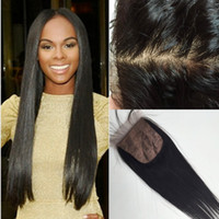 Wholesale base closure for sale - Group buy Virgin Brazilian hair Silk Base Closure x4 Silk Top Lace Closure With Baby Hair Bleached Knots Free Middle Way Part