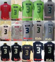 2018 Hot Sale 3 Russell Wilson Blue White Green Elite Game Limited Stitched Jerseys Mulheres Juventude Kids Mix Order