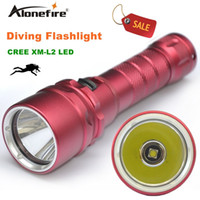 Barato Luz Led Mergulhador-Alonefire DV19 1800Lumen 10W XML L2 Lanterna de mergulho LED 50-80M Underwater Lamp impermeável LED Tocha Flash Light Diver