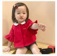 Wholesale Breast Dolls - INS Baby Girls Outwears Infants Flare Sleeve Doll Collar Coat Children Christmas Party Tops Girls Single-breasted Coat Kids Clothing G1231