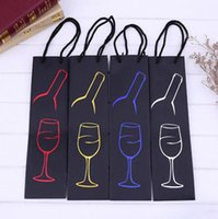 Wholesale Wholesale Wine Totes - Red Wine Paper Gift Bags Wine Glass Grape Leaf Bottle Pokal Design Oil Bottle Gift Holder Tote Bags Party Favors OOA2732