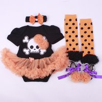 Wholesale Toddlers Leggings Tutu - Halloween Clothing Sets Baby Rompers Dresses Toddler Shoes Hairband Leggings Knee Socks 4pcs Suits Factory Free DHL 425