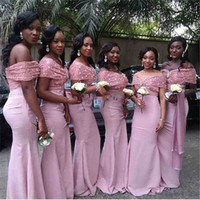 Wholesale Trumpet Wedding Dress Rose Ruffle - 2017 South Africa Pink Mermaid Bridesmaid Dresses Off The Shoulder Rose Gold Sequins Appliques Mermaid Maid Of Honor Wedding Guest Gown