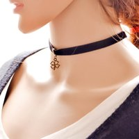 Wholesale Clover Design Necklaces - 2016 new design necklace,black nylon lace necklace with clover four leaf clover pendant,popular jewellery for girls