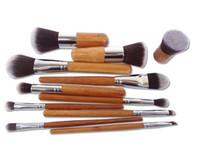componer establece precio al por mayor-Mejor precio 11pcs Profesional Herramientas de maquillaje Pincel Maquiagem Mango de madera Maquillaje Cosmético Sombra de Ojos Fundación Corrector Kit de cepillo D649
