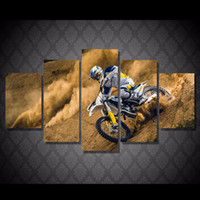 Wholesale Cars Ny - 5 Pcs Set Framed Printed Motocross car Painting Canvas Print room decor print poster picture canvas Free shipping NY-5909