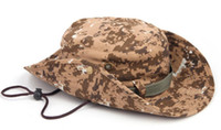 Wholesale Wholesale Canvas Cowboy Hats - Canvas Camouflage wide-brimmed hat outdoor fisherman Bucket Hats Camo Wide Brim Sun Fishing cap Camping Hunting CS Tactical Gear xmas gift