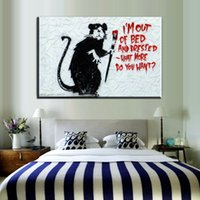 Wholesale Paint Brush Pictures - ZZ46 graffiti canvas prints art cartoon mouse brushing canvas pictures oil art painting for livingroom bedroom decoration decor