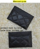 Wholesale Korean Silk Short Dress - Card & ID Holders Women Genuine Leather Lambskin Leather & Caviar Small Purse Wallets & Holders Silver hw Gold hw 31510