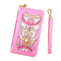 Wholesale Girls Dress Japan - Japan Anime Card Captor Sakura Wallet Girls Cute CARDCAPTOR SAKURA Wallet Purses Wristlet Grimoire Bag Kawaii Cosplay Clow Hand Bag Purse