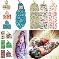 Wholesale Gold Shower Set - Newborn Swaddle Sack Cocoon Sleep Sack Swaddle Blanket Beanie set Newborn Hat Take Home Outfit Photo Props Baby Shower Gift