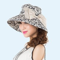 Wholesale Large Beanie Men - Wholesale-Fashionable blue and white porcelain bucket hats lady summer outdoor beach large bowknot fishing hats