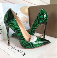 Wholesale B Sexy Photo - Free shipping Fashion women pumps green patent leather point toe high heel thin heels real photo genuine leather sexy lady shoes