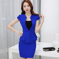 Wholesale Dropship Skirt - Summer Women Formal Casual Ruffles Work Professional Skirt Fashion Suit Dress set OL wear Plus Size Elegant Clothing DK814F Dropship
