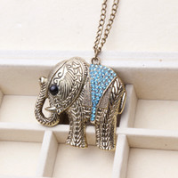 Wholesale Per Jewelry Chain - 2016 New Antique Bronze Plated Boho Elephant Pendent Necklace Male Jewelry 10 pcs per lot long necklace