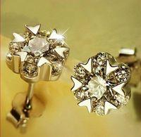 Wholesale Gold Snowflake Stud Earrings - Crystal Snowflake Stud Earrings White Gold Overlay Fashion Bohemian Jewelry Cubic Zirconia Stud Earrings Sterling Silver Ear Jewelry