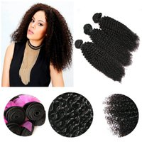 Wholesale Same Length Brazilian Hair - Mix Same Length 3pcs 9A Peruvian Virgin Human Weave Hair Weft Kinky Curly Natural Color Brown Color Derun Premier Hair Extension