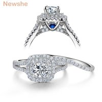 Wholesale jewelry blue stone rings - Newshe 2 Pcs Solid 925 Sterling Silver Women's Wedding Ring Sets Victorian Style Blue Side Stones Classic Jewelry For Women wzw