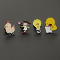 Wholesale Light Brooches - Wholesale- free shipping fashion women New Jewelry wholesale Cute brooch anime jewelry small duck light bulb chicken brooch for women