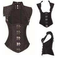 Wholesale Woman Plus Size Vests - Women Gothic Corset Black Steampunk Corset And Bustiers Vintage Vest Underbust Plus Size S~6XL Sexy Corselet
