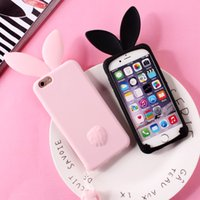 étui iphone lapin noir achat en gros de-Étui 3D Lapin Mignon Pour iPhone 7 7plus Doux Silicium Pour iPhone 6 6plus 6s 6splus 5 5S SE Mignon Rose Noir Fille Couverture