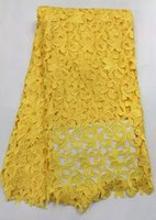 Wholesale Tissue Dresses - Classical Design African Cord Lace Tissue Full Dress Wedding Gown Eyelash Lace Black  Yellow French Mesh Chantilly Lace Fabric
