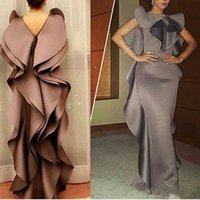 Wholesale Ladies Evening Jacket Dresses - Elegant Cholocate Prom Dresses Sheath Ruffles Sexy Back Custom Made Lady Evening Gowns 2016 Satin Formal Party Gowns