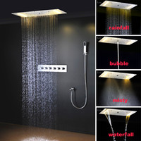 Wholesale Bathroom Over Head - Luxury bathroom LED light shower 304SS Square Rain Shower Head Ceiling Mounted Over-head Shower Sprayer