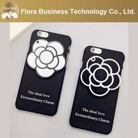 Luxury Girl bianco e nero Charm PC 3D Flower Mirror Case per iPhone 6 6s 6plus 6splus con corda