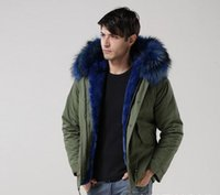 Wholesale Men Detachable Real Fur Collars - Hot sales Man furs Green jacket mini Parkas hood with blue colour real raccoon fur collar mr winter warm coat