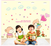 Wholesale Simple Mural Designs - 2017 Cartoon Lovely Cute Bear Wall Stickers Happiness is Simple Wall Decals for Kids Rooms Bedroom Nursery Room Decor Decoration