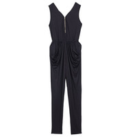 75cdf2786b1 Wholesale- Hot Women Fashion Celebrity Style All In One Trouser Strappy Jumpsuit  V Neck Zipper Rompers Black Playsuit