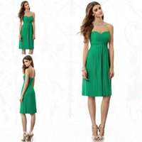 Wholesale Jade Green Wedding Dresses - Jade Green Bridesmaid Dress A Line Chiffon Knee Length Short Maid of Honor Dress For Wedding Party Gown