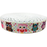 Polka Dots Grosgrain Cintas owl grosgrain ribbon - 50Yard mm Colorful Dots Polka Grosgrain Ribbon Craft inch Customized Cartoon Owls PrintedPolyester Sewing Webbing Accessory Cintas